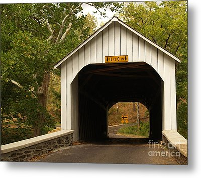 Loux Bridge And Sharp Left - Bucks County  Metal Print by Anna Lisa Yoder