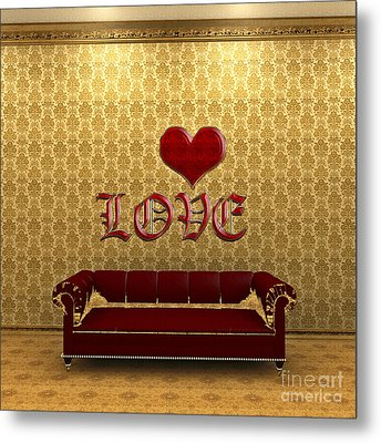 Love And Deep Red Sofa In A Gold Victorian Room Metal Print by Beverly Claire Kaiya
