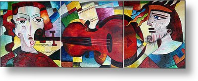 Metal Print featuring the painting Love And Music Triptych by Dorothy Maier
