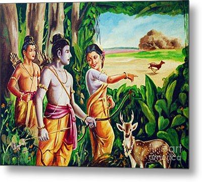 Metal Print featuring the painting Love And Valour- Ramayana- The Divine Saga by Ragunath Venkatraman