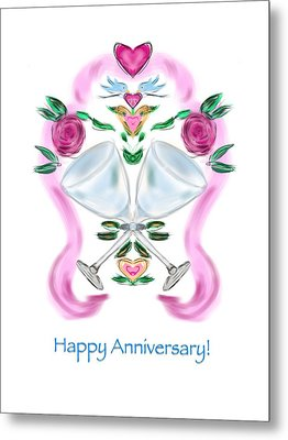 Metal Print featuring the digital art Love Birds Anniversary by Christine Fournier