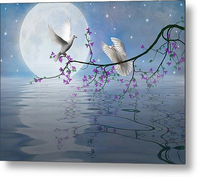 Love Birds By The Light Of The Moon-2 Metal Print