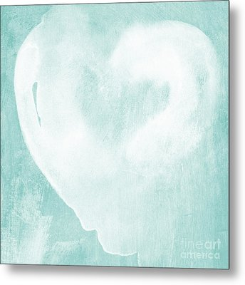 Love In Aqua Metal Print by Linda Woods