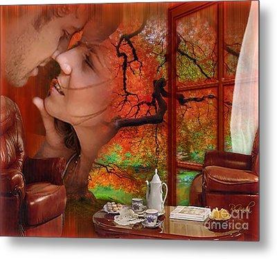 Metal Print featuring the digital art Love In Autumn - Digital Art By Giada Rossi by Giada Rossi