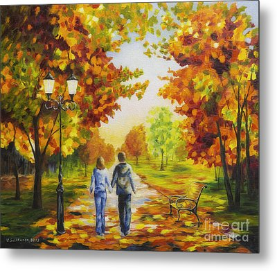 Love In Autumn Metal Print