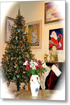 Love In Our Hearts And Santa In The Corner Metal Print by Phyllis Kaltenbach