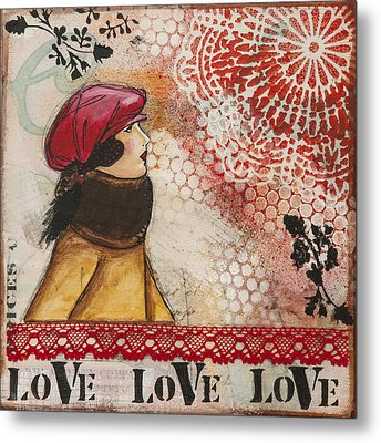 Love Inspirational Mixed Media Folk Art Metal Print