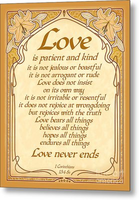 Love Is Patient - Gold Art Nouveau Style Metal Print by Ginny Gaura