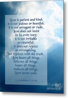 Love Is Patient - Sky Photo Metal Print by Ginny Gaura