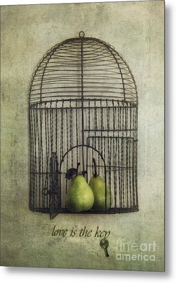 Love Is The Key With Typo Metal Print by Priska Wettstein