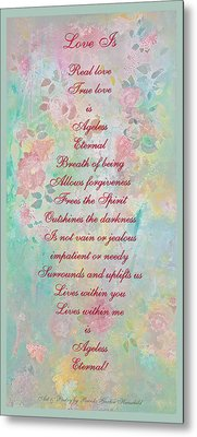 Love Is...2 - Original Art And Poetry - Image And Text Metal Print