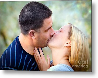 Love Kissing Couple Metal Print by Michal Bednarek