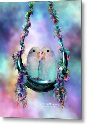 Love On A Moon Swing Metal Print by Carol Cavalaris