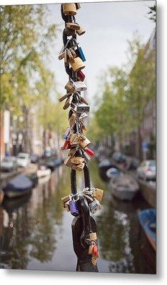 Love Padlocks In Amsterdam Metal Print by Artur Bogacki