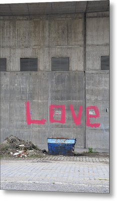 Love - Pink Painting On Grey Wall Metal Print by Matthias Hauser