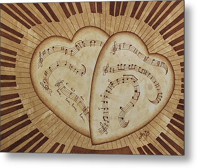 Metal Print featuring the painting Love Song Of Our Hearts by Georgeta Blanaru