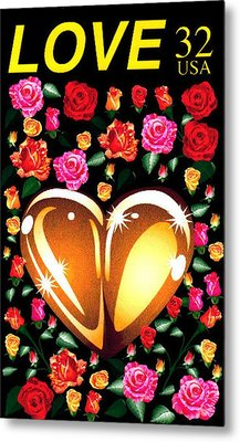 Love Stamp Metal Print