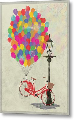 Love To Ride My Bike With Balloons Even If It's Not Practical. Metal Print by Andy Scullion