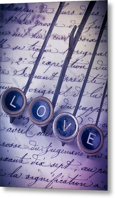 Love Type On Old Letter Metal Print