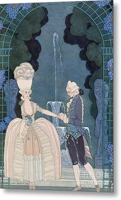 Love Under The Fountain Metal Print by Georges Barbier