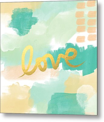 Love With Peach And Mint Metal Print