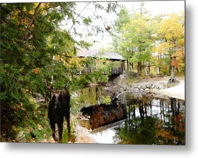 Lovejoy Covered Bridge And Moose Metal Print by Mike Breau