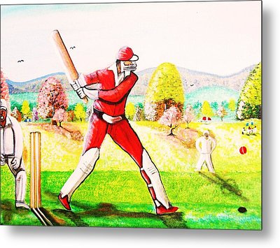 Lovely Day For Cricket. Metal Print by Roejae Baptiste