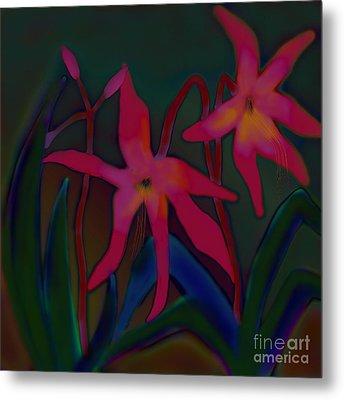Metal Print featuring the digital art Lovely Lilies by Latha Gokuldas Panicker