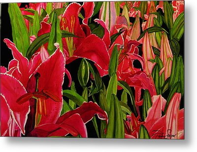 Metal Print featuring the painting Lovely Lillies by Debi Singer