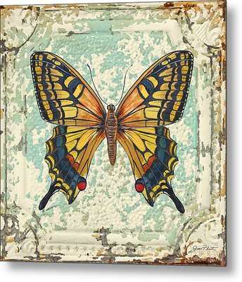 Lovely Yellow Butterfly On Tin Tile Metal Print