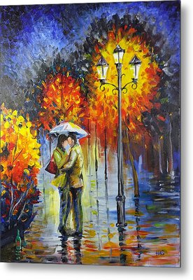Lovers In The Rain Metal Print by Harry Speese