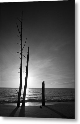 Lovers Key Sunset Black And White One Metal Print