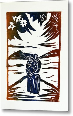 Lovers - Lino Cut A La Gauguin Metal Print by Christiane Schulze Art And Photography