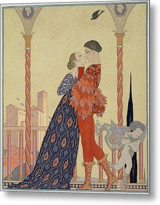 Lovers On A Balcony  Metal Print by Georges Barbier