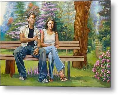 Lovers On A Bench Metal Print by Dominique Amendola