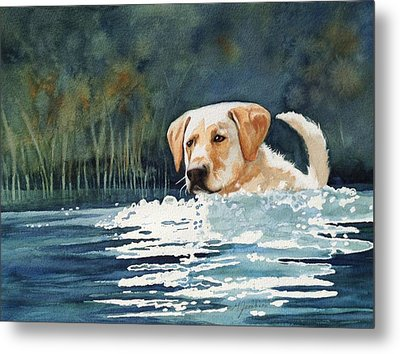 Loves The Water Metal Print by Marilyn Jacobson