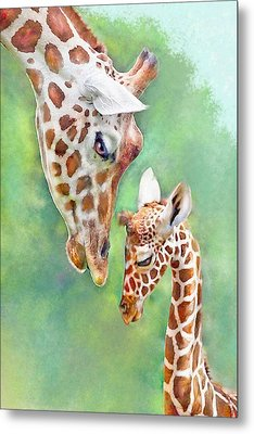 Metal Print featuring the digital art Loving Mother Giraffe2 by Jane Schnetlage