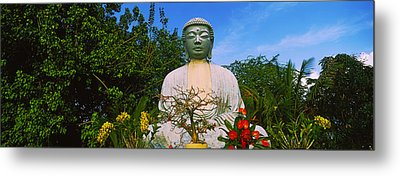 Low Angle View Of A Buddha Statue Metal Print
