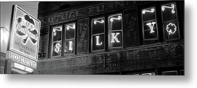 Low Angle View Of A Pub Lit Metal Print by Panoramic Images