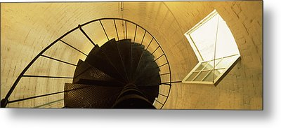 Low Angle View Of A Spiral Staircase Metal Print