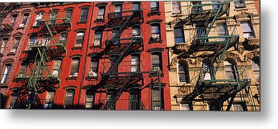 Low Angle View Of Fire Escapes Metal Print by Panoramic Images