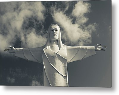 Low Angle View Of Statue Of Christ Metal Print by Panoramic Images