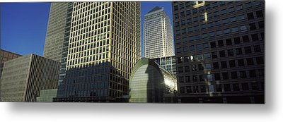 Low Angle View Of Towers, Canary Wharf Metal Print by Panoramic Images