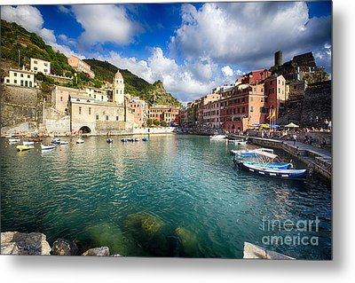 Low Angle View Of Vernazza  Harbor Metal Print by George Oze
