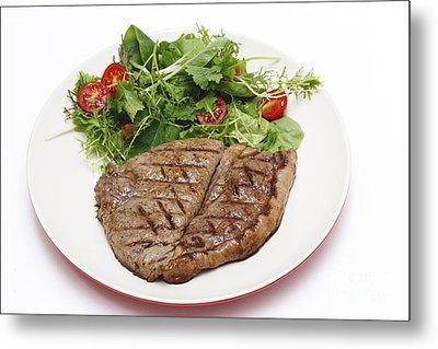 Low Carb Steak And Salad Metal Print