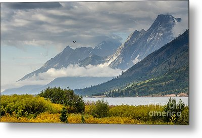 Low Clouds On The Teton Mountains Metal Print