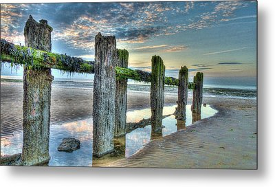 Low Tide Groynes Metal Print