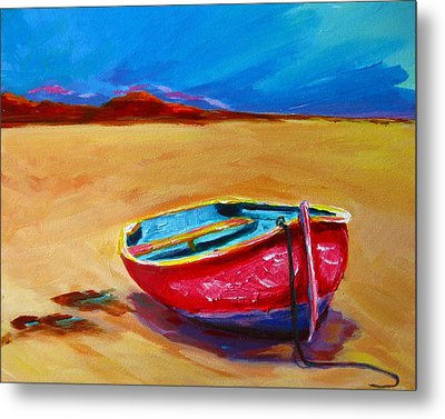 Low Tides - Landscape Of A Red Boat On The Beach Metal Print by Patricia Awapara