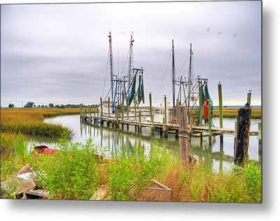 Lowcountry Shrimp Dock Metal Print by Scott Hansen