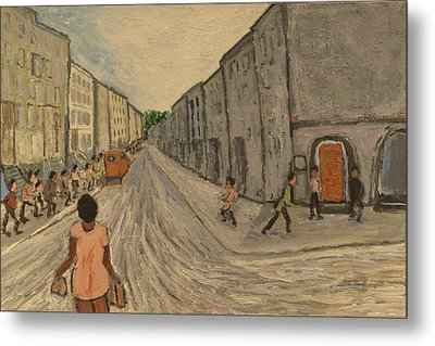 Metal Print featuring the painting Lower East Side Street by Clarence Major